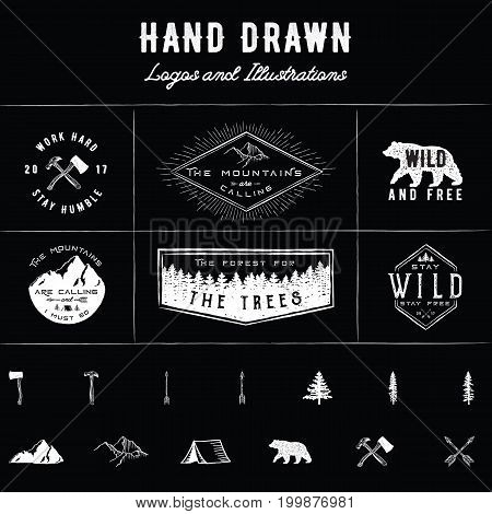 Rustic Logos and Illustrations - 6 pre-made logos and 13 hand drawn illustrations.