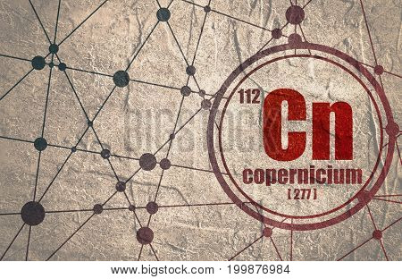 Copernicium chemical element. Sign with atomic number and atomic weight. Chemical element of periodic table. Molecule And Communication Background. Connected lines with dots. Distress grunge texture