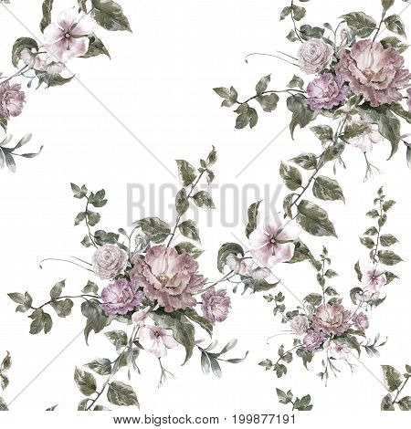 Watercolor painting of leaf and flowers seamless pattern on white background