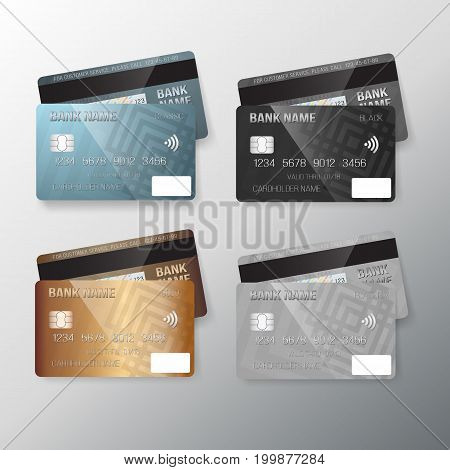 Illustration of Vector Realistic Credit Card Set