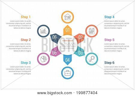 Circle infographics template with six elements, can be used as process diagram, steps, options, vector eps10 illustration