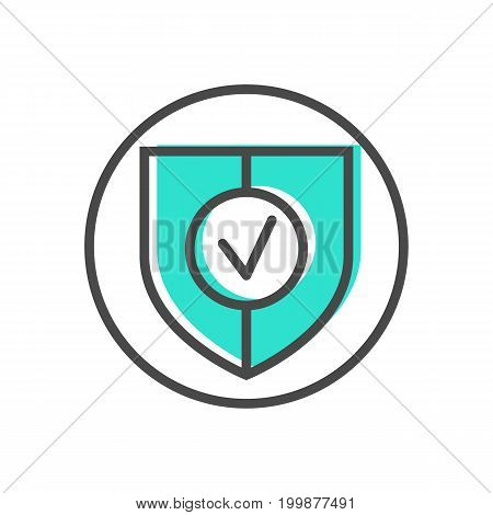 Data stream linear icon with shield sign. Financial data analysis, business analytics pictogram isolated vector illustration.