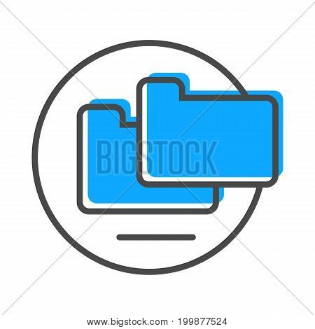 Data stream linear icon with folder sign. Financial data analysis, business analytics pictogram isolated vector illustration.