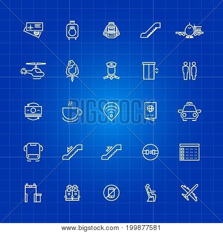 Aviation or airport outline icons set on blue background. Vector illustration