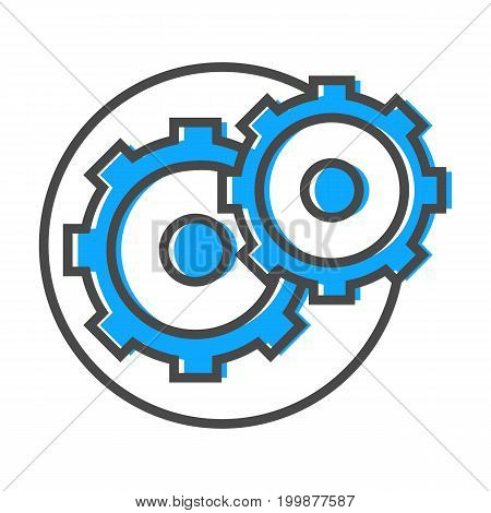 Data stream linear icon with gear sign. Financial data analysis, business analytics pictogram isolated vector illustration.