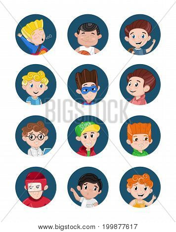 Happy little boys avatar icon set. Smiling kid faces with various emotions, cute cartoon children heads collection, people portraits vector illustrations isolated on white background.