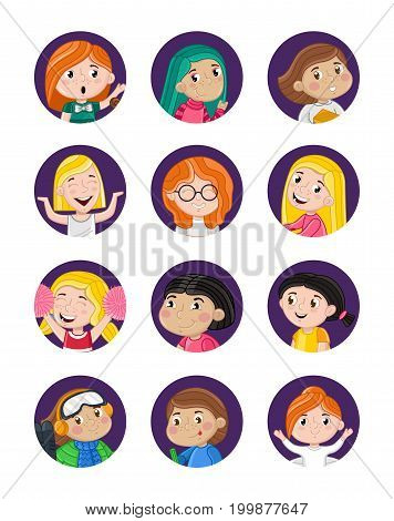 Happy little girls avatar icon set. Smiling kid faces with various emotions, cute cartoon children heads collection, people portraits vector illustrations isolated on white background.