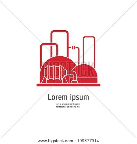 Heavy industry power plant - red icon on white background. Vector illustration