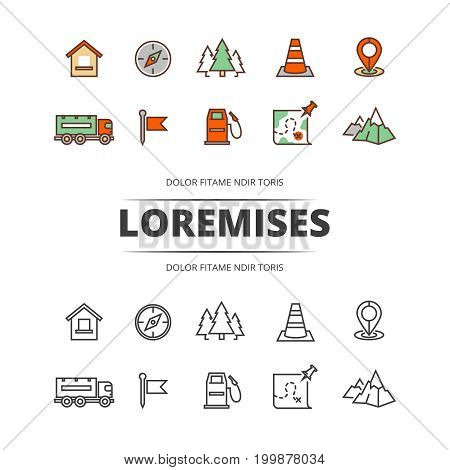 Travel, highway traffic, location outline and colorful icons. Vector illustration