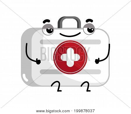 First aid kit cute cartoon character. Medical treatment icon, funny medicine equipment isolated on white background vector illustration.