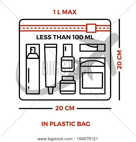 Airport rules for liquids on luggage - line information poster. Vector illustration