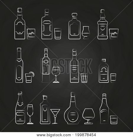 Alcoholic drinks line icons - white drinks icons on chalkboard. Drawing alcohol, vector illustration