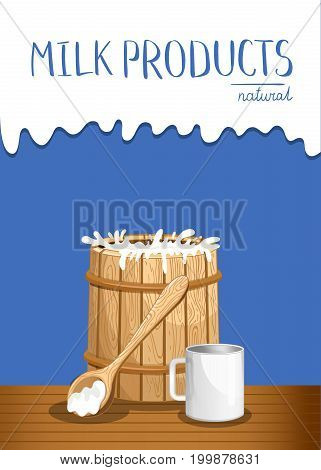 Dairy products banner with milk wooden barrel. Natural organic dairy product, fresh and healthy farm food concept. Layout for milk retail advertising or product presentation vector illustration.