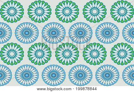 geometric pattern formed from blue-green ovals on a grey background