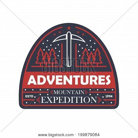 Mountain expedition vintage isolated badge. Outdoor explorer sign, touristic camping label, nature hiking vector illustration