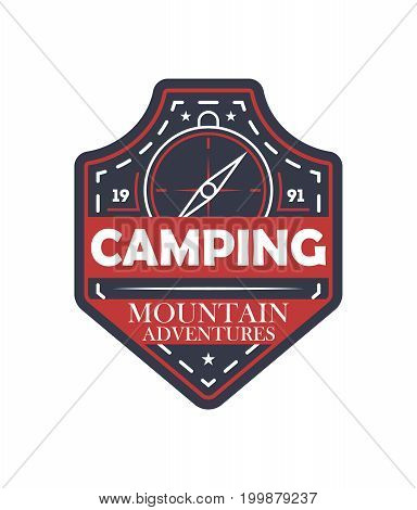 Mountain extreme adventures vintage isolated badge. Outdoor explorer sign, touristic camping label, nature expedition vector illustration