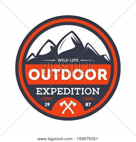 Outdoor nature expedition vintage isolated badge. Summer camp symbol, mountain and forest explorer, touristic camping label, wildlife vector illustration.