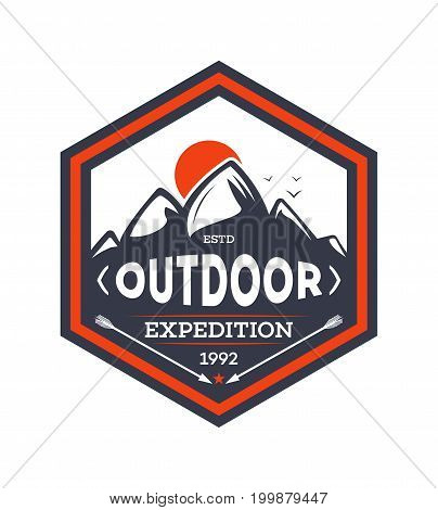 Outdoor hiking expedition vintage isolated badge. Summer camp symbol, mountain explorer, touristic camping label, nature wildlife vector illustration.
