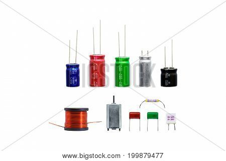 Group of electronics part with copper coil ferrite capacitor resistor thermal fuse isolated on white background. Electronics part concept.