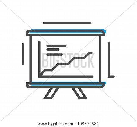 Process management linear icon with chart on whiteboard sign. Data computing technology, business analytics pictogram isolated vector illustration.