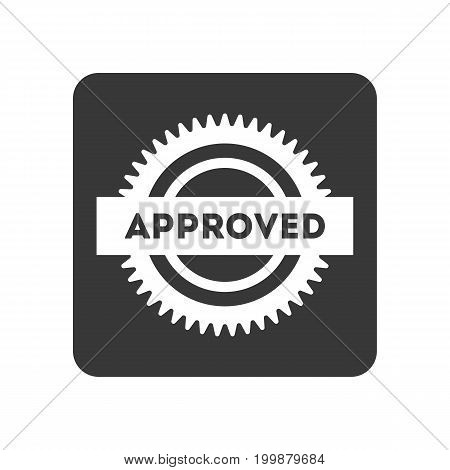 Quality control icon with approved sign. Quality management pictogram isolated vector illustration.