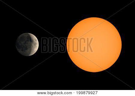 Sun Illuminating Moon Seen With Telescope