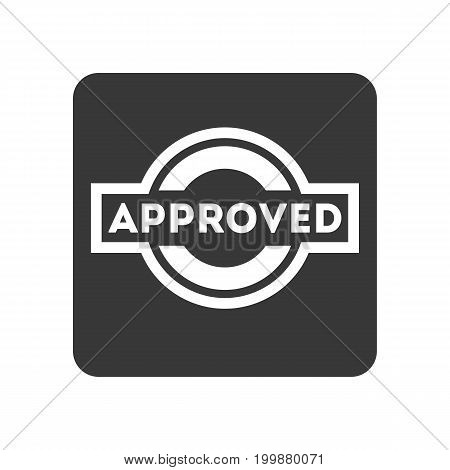 Quality control icon with approved text. Quality management pictogram isolated vector illustration.