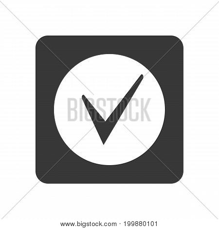 Quality control icon with check mark symbol. Quality management pictogram isolated vector illustration.