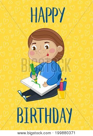 Happy birthday kids postcard template. Cute greeting card, brochure, invitation with little boy draws in album. Interesting children life, happy childhood vector illustration in cartoon style.