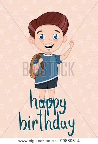 Happy birthday kids postcard template with smiling little boy. Cute greeting card, event invitation cover. Interesting children life, happy childhood vector illustration in cartoon style.