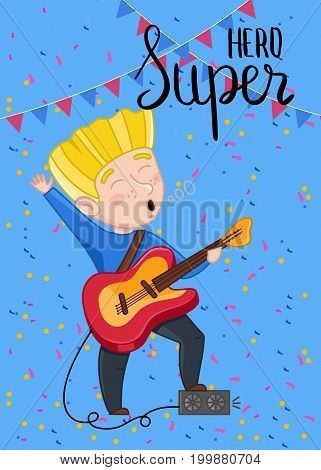 Super hero kids card with boy playing electric guitar. Cute greeting card, birthday congratulation, event invitation. Interesting children life, happy childhood vector illustration in cartoon style.
