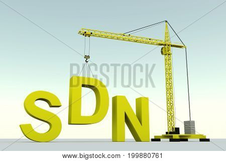 SDN concept building crane white background 3d illustration