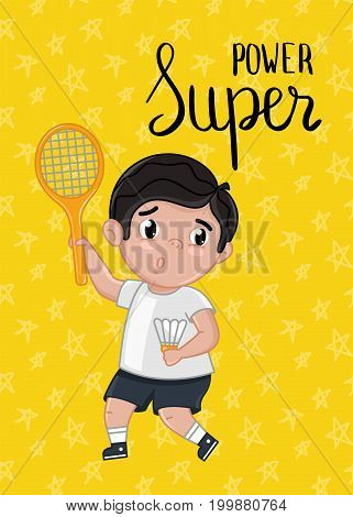Super power kids postcard with boy in tennis uniform holding racket. Cute greeting card, birthday congratulation, event invitation. Interesting children life, happy childhood vector illustration.