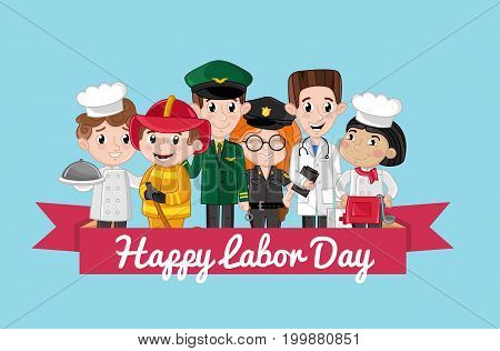Happy labor day card with children in professional costumes of cook, doctor, pilot, fireman. Cute national holiday congratulation card. People different occupation vector illustration