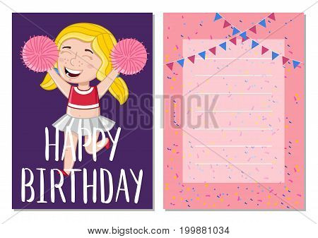 Happy birthday kids card with little cheerleader girl with pom-poms. Greeting card, brochure, invitation cover. Interesting children life story, happy childhood vector illustration in cartoon style.