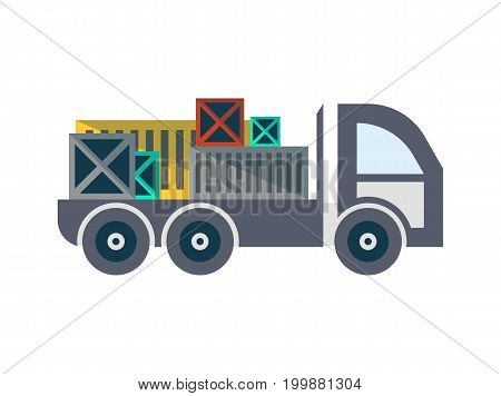Commercial freight truck isolated icon. Warehouse goods distribution, shipping company, cargo delivery and logistics vector illustration in flat design.