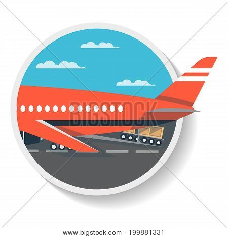 Logistics icon with loading airplane isolated icon. Shipping company, cargo delivery vector illustration in flat design.