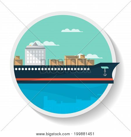 Logistics icon with container ship in flat design. Commercial vessel, worldwide delivery service isolated vector illustration.