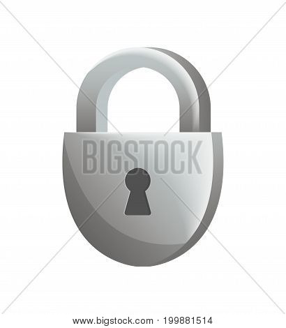 Padlock icon in flat design. Security protection, key safety element, blocking sign for mobile application isolated on white background vector illustration.