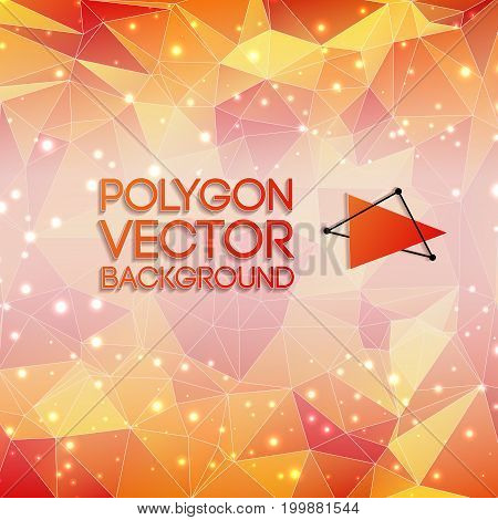 Abstract polygon vector background with bright specks of light iridescence and title vector illustration