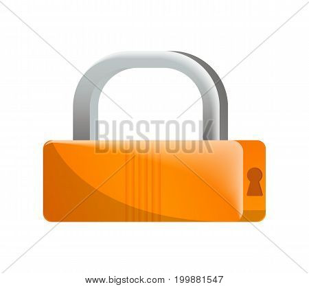 Closed orange padlock icon in flat design. Security protection, key safety element, blocking sign for mobile application isolated on white background vector illustration.