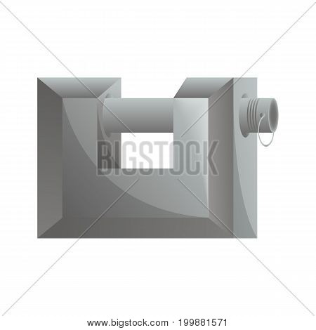 Garage padlock icon in flat design. Security protection, key safety element, blocking sign for mobile application isolated on white background vector illustration.