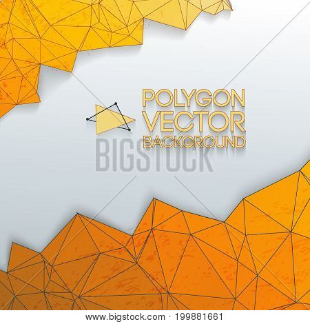 Abstract triangle polygon cartoon background with orange color and white place for headline vector illustration