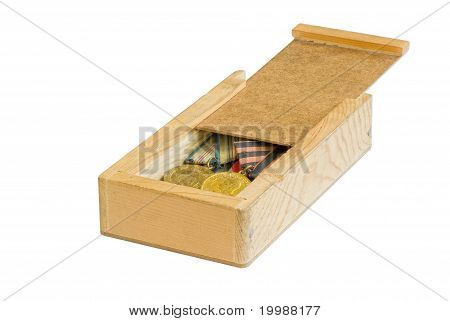 Wooden box with grandpas' medals