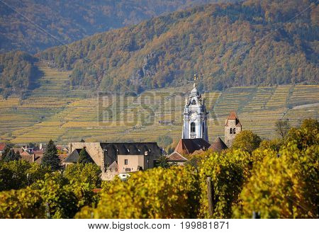 Church of Duernstein in der Wachau in autumn