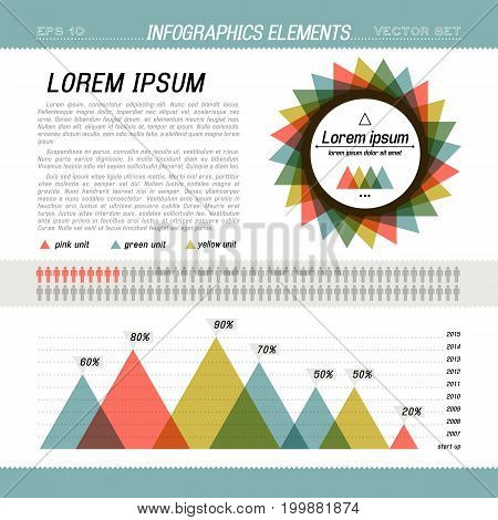Business infographic with chart template and place for text for crate presentation vector illustration