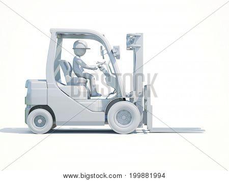 3d render: White Forklift Truck Shot on White Background