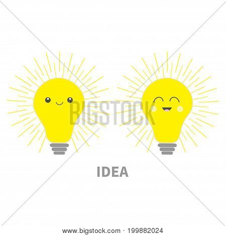 Idea light bulb icon set with happy smiling face. Shining line round effect. Cute cartoon character. Yellow color switch on. Business success concept. Flat design. White background. Isolated. Vector
