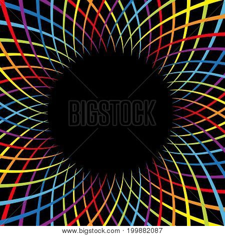 Rainbow color spiral flower speed. Colorful swirl movement bright line set. Round circle glowing template. Sunburst starburst shape. Black abstract background. Flat design. Vector illustration