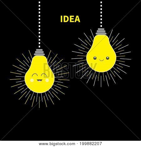 Two hanging Idea light bulb icon set Happy smiling face. Shining effect. Dash line. Cute cartoon character. Yellow color switch on. Business success concept. Flat design. Black background. Vector